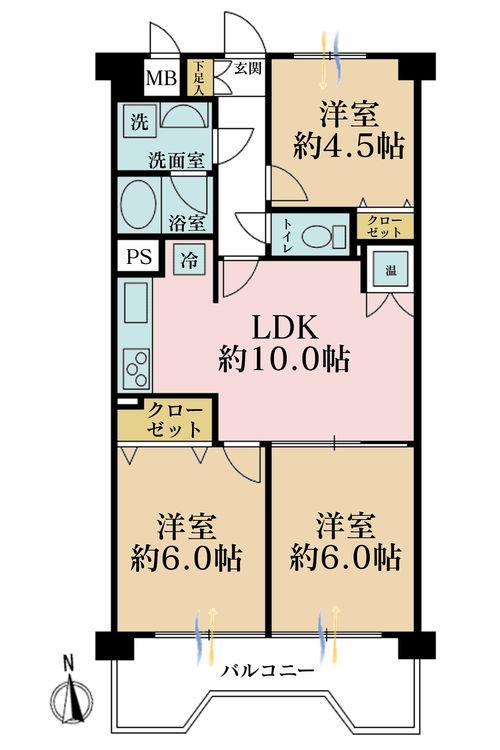 3LDK、価格2599万円、専有面積57.78m2、バルコニー面積3m2
