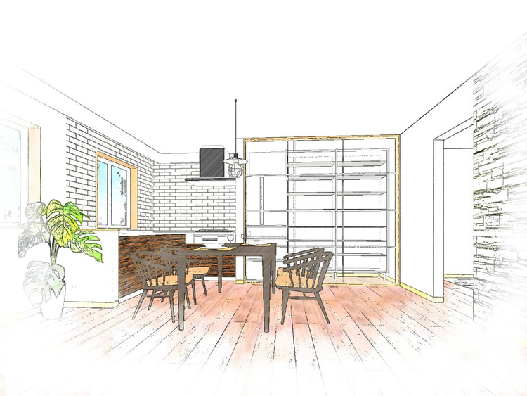 参考リノベーション提案イメージ 広々1LDKリノベーションプラン 充実のDKで家事を楽しみませんか?