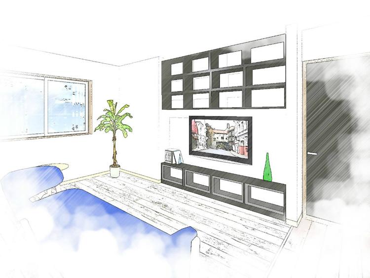 参考リノベーション提案イメージ 広々1LDKリノベーションプラン テレビボード裏に書斎コーナーはいかがですか?