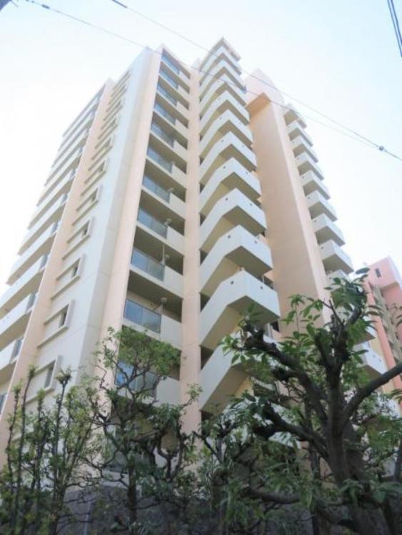 建物は重厚感のある外観。14階建ての63戸。リフォーム済みです。