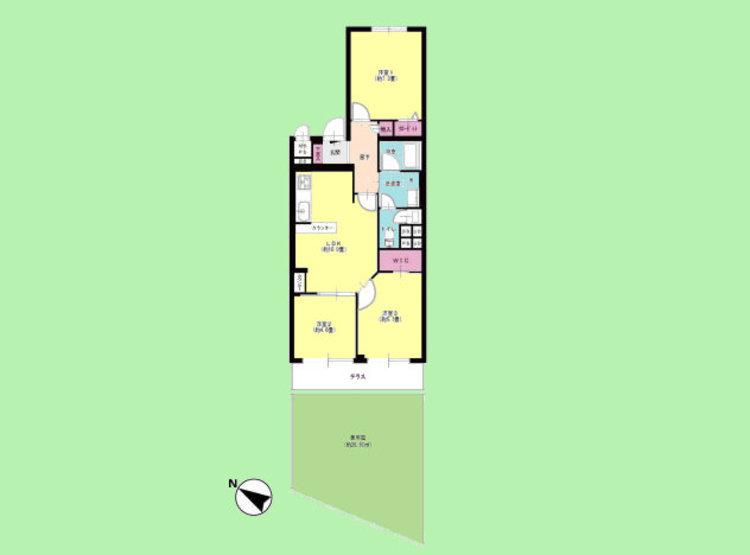 3LDK 専有面積64.86平米、テラス面積7.15平米