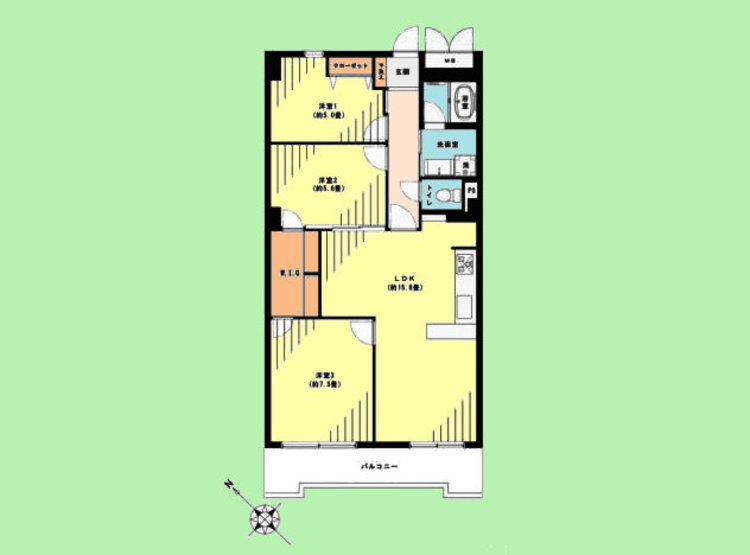 2SLDK 専有面積75.52平米、バルコニー面積8.28平米