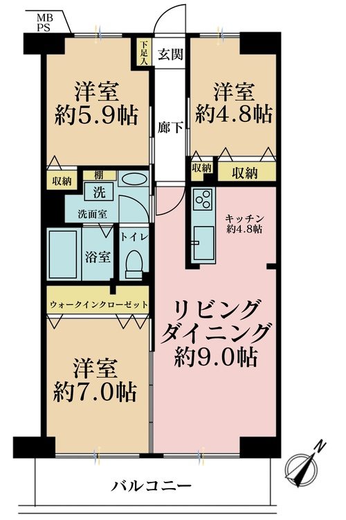 3LDK、価格3680万円、専有面積66m2、バルコニー面積7.84m2