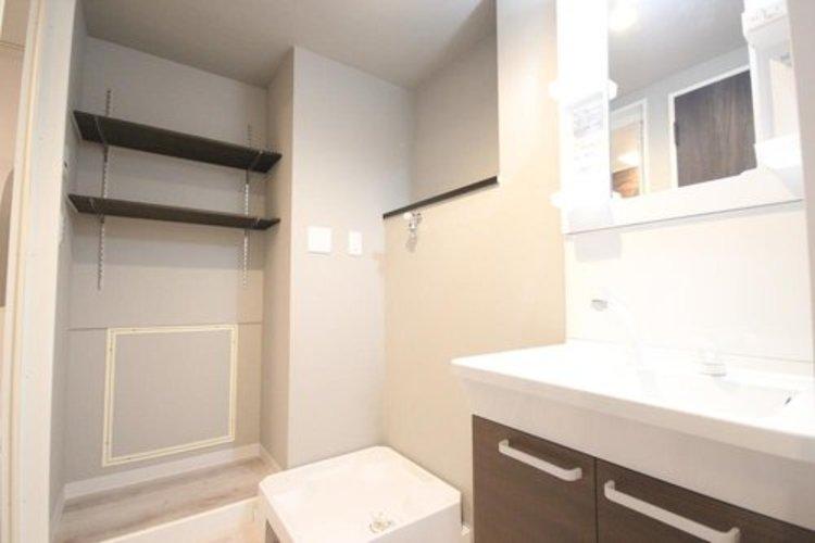 シャンプーができるシャワーが付いた洗面台なら、毎朝のシャンプーも楽々。ボウル全体をお掃除するときも便利です。