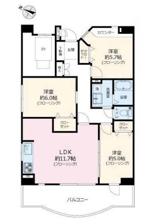 【間取図】 3LDK、専有面積65.22m2、バルコニー面積10.8m2