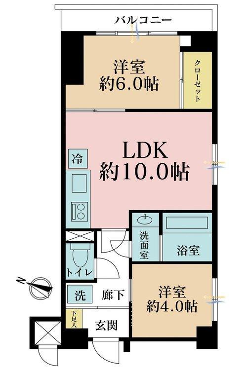 2LDK、価格2990万円、専有面積49.28m2、バルコニー面積4.27m2