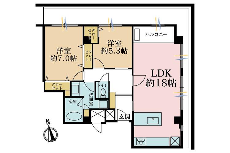 2LDK、価格7680万円、専有面積70.22m2、バルコニー面積22.54m2