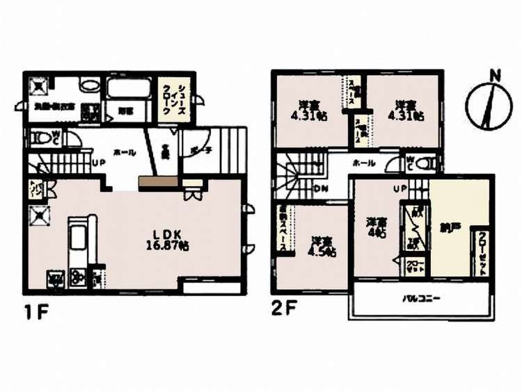 ■4LDK 2階建 16.87帖LDK 4.5帖洋室 4.31帖洋室 4.31帖洋室 4帖洋室+納戸■敷地面積:110.50m2■延床面積:102.26m2■東側、北側公道 5m■シンプルな内装はおし