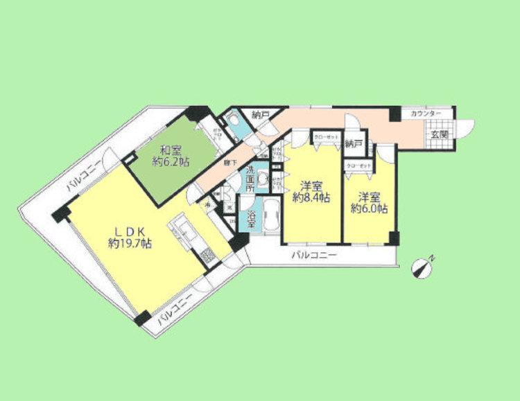 3LDK 2納戸 専有面積101.25平米、バルコニー面積29.36平米