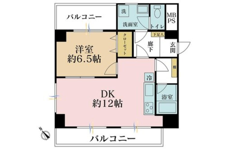 1LDK、価格3099万円、専有面積45.1m2、バルコニー面積11.61m2