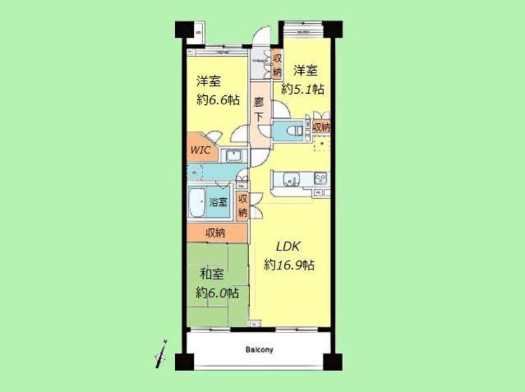 3LDK 専有面積75.82平米、バルコニー面積10.42平米