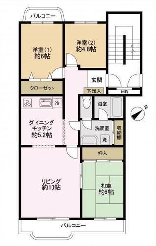 京成サンコーポ三山 3号棟 5階の間取り