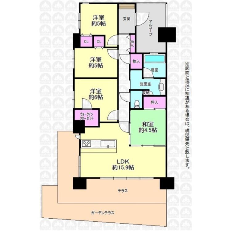 専用庭付きの1階部分住戸!角部屋のため開放感もあります。