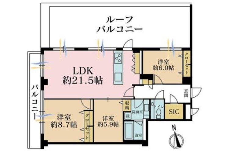 3LDK+S(納戸)、価格8999万円、専有面積96.08m2、バルコニー面積8.68m2