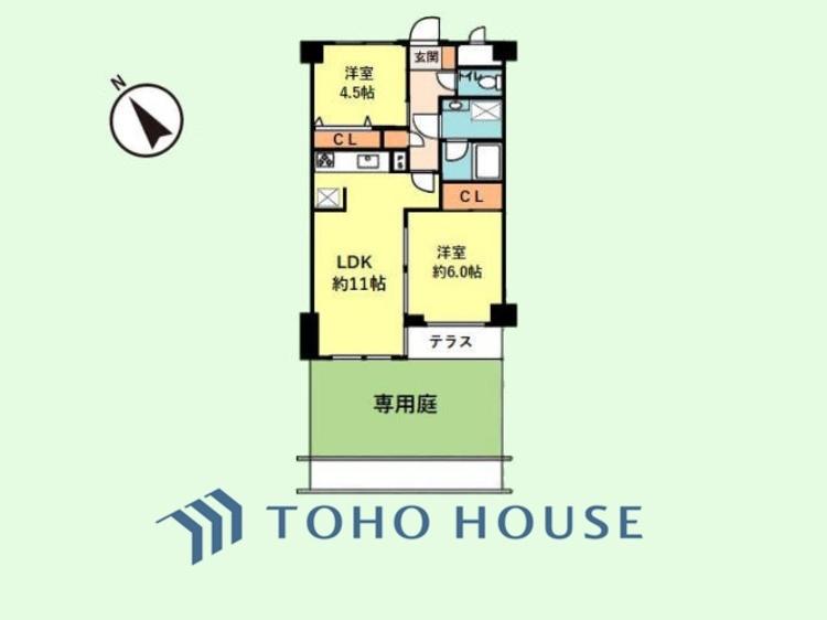 2LDK+専用庭 専有面積49.73平米、テラス面積2.65平米