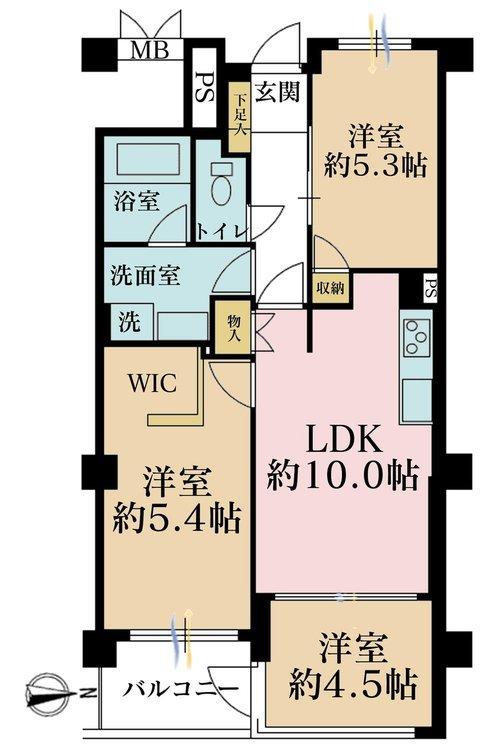 3LDK、価格3790万円、専有面積60.88m2、バルコニー面積4.22m2