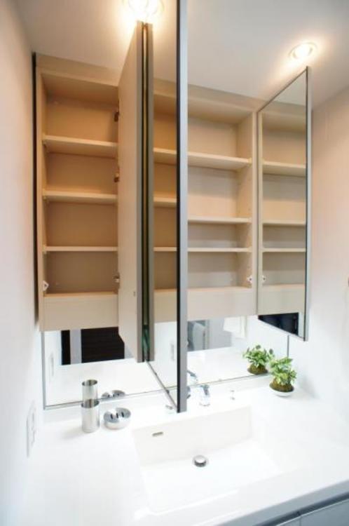 鏡の中も収納となっているので、洗面台をスッキリとお使いいただけます