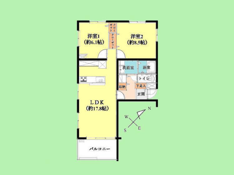 2LDK 専有面積68.77平米、バルコニー面積7.60平米