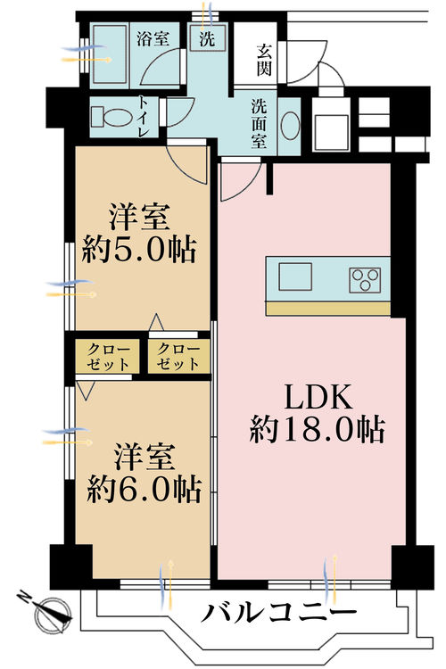 2LDK、価格5480万円、専有面積61.11m2、バルコニー面積6.46m2