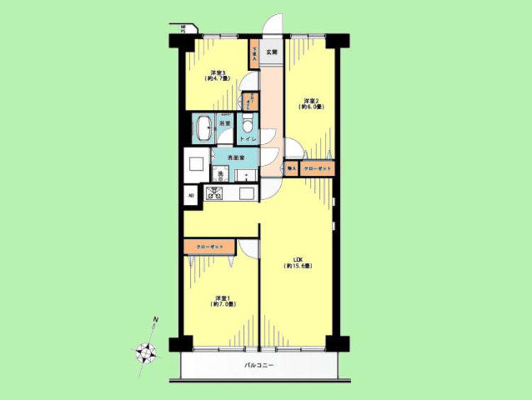 3LDK 専有面積72.00平米、バルコニー面積7.20平米