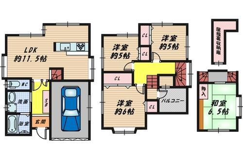 堺市西区浜寺諏訪森東1丁94-17の間取り