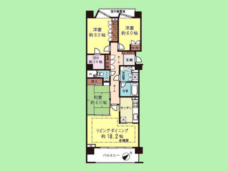 3SLDK 専有面積97.92平米、バルコニー面積11.14平米