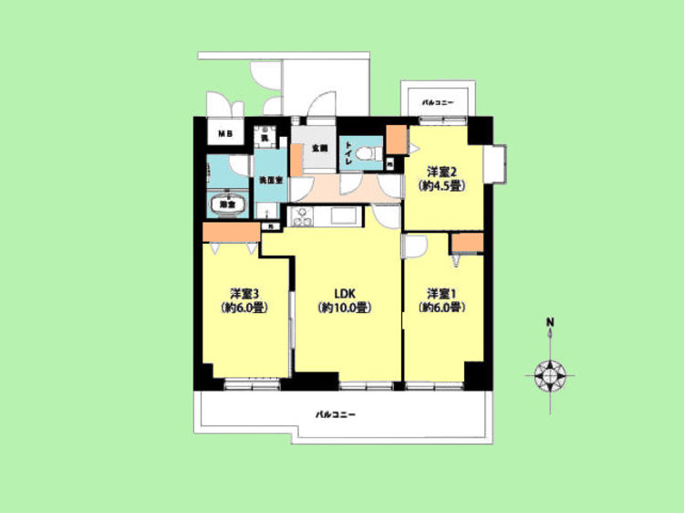 3LDK 専有面積59.94平米、バルコニー面積12.43平米
