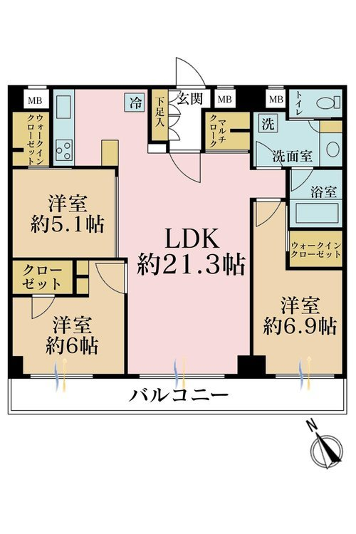 3LDK、価格8380万円、専有面積87.3m2、バルコニー面積9.7m2