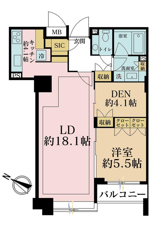 1LDK+S(納戸)、価格5800万円、専有面積71.39m2、バルコニー面積1m2