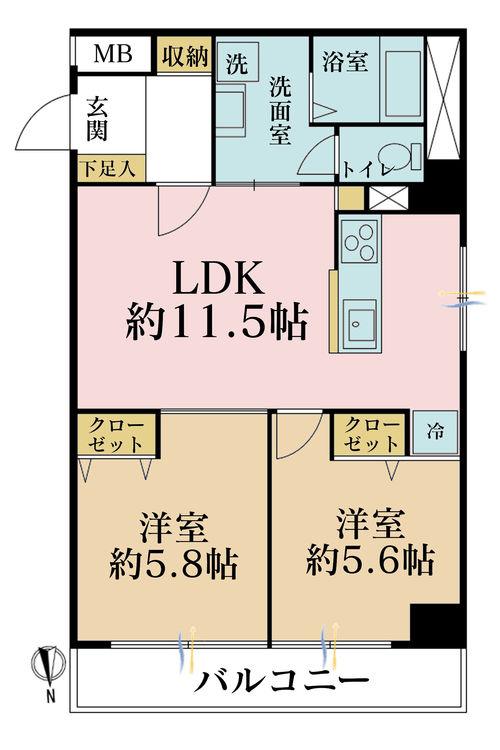 2LDK、価格3699万円、専有面積56.08m2、バルコニー面積5.6m2