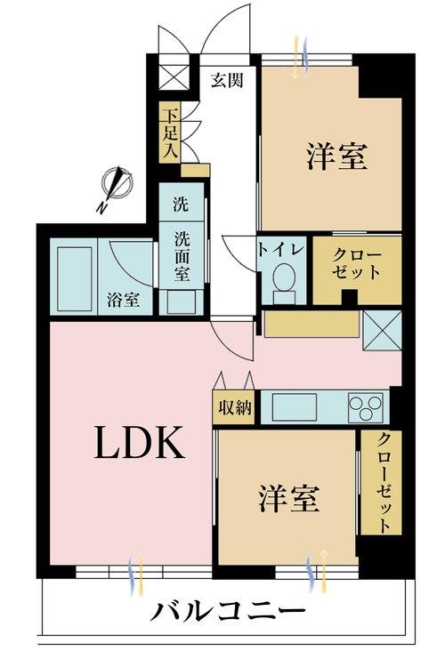2LDK、価格5180万円、専有面積50.85m2、バルコニー面積6.93m2