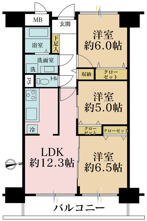 3LDK、価格4180万円、専有面積63.9m2、バルコニー面積8.25m2