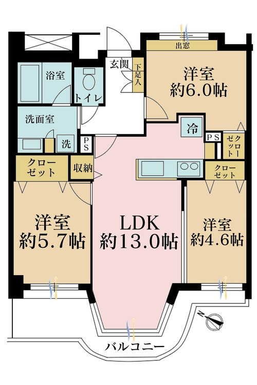 3LDK、価格3380万円、専有面積67.06m2、バルコニー面積8.82m2
