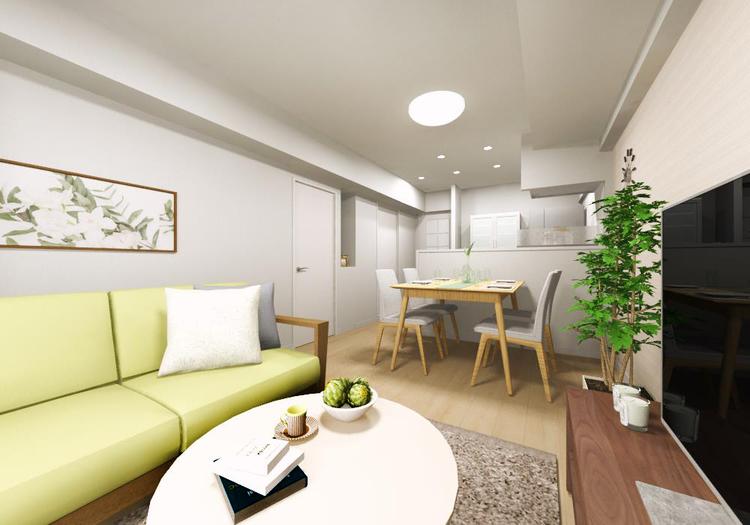 縦長空間のリビングダイニングは家具の配置がしやすく、理想のレイアウトが実現できます