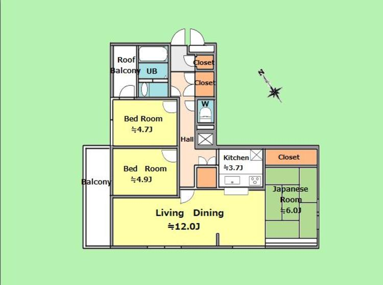 3LDK 専有面積74.79平米、バルコニー面積7.65平米