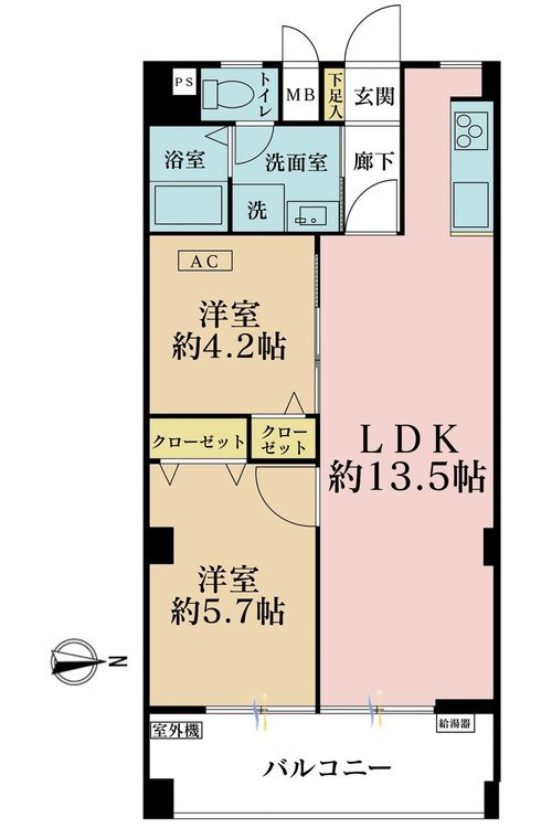 2LDK、価格3780万円、専有面積52.38m2、バルコニー面積7.02m2