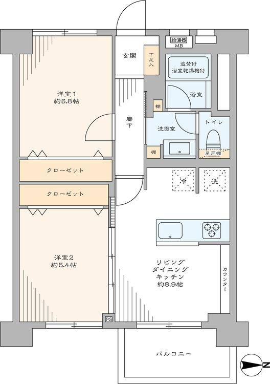 全ての居室にクローゼットがあり、収納が豊富な東向きの2LDK。