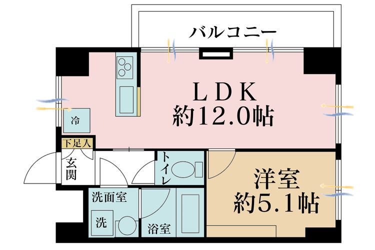 1LDK、価格2499万円、専有面積37.24m2、バルコニー面積5.3m2