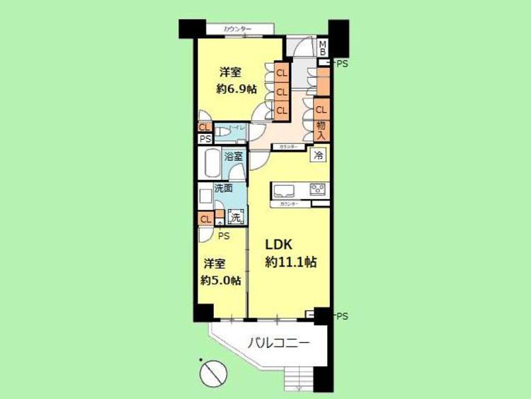 2LDK 専有面積62.09平米、バルコニー面積8.25平米