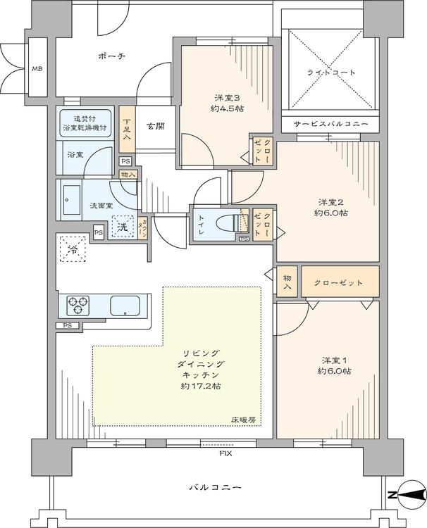 アウトフレーム工法なので室内に柱のないすっきりした内装が特徴の住戸です。