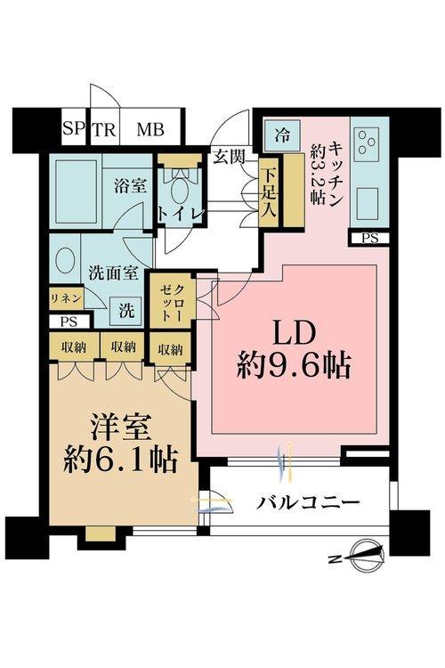 1LDK、価格7480万円、専有面積48.04m2、バルコニー面積6.26m2