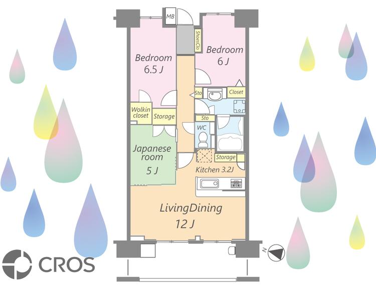 ソファとダイニングセットを配置しやすい15.2帖のLDK。全部屋5帖以上の広さと大きめの収納付き。パントリー、廊下収納、リネン庫など充実の収納がある暮らしやすい間取りです