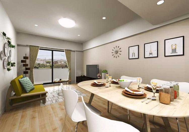 縦長空間のリビングダイニングは家具の配置がしやすく、使い勝手のよい空間