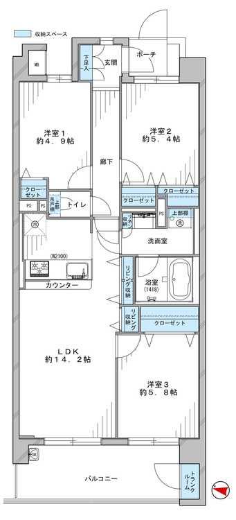 70平米越えの広々3LDK。アウトフレーム構造で、開放感のあるお部屋