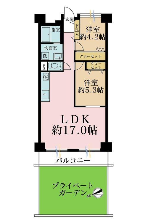 2LDK、価格4390万円、専有面積64m2、バルコニー面積7.28m2