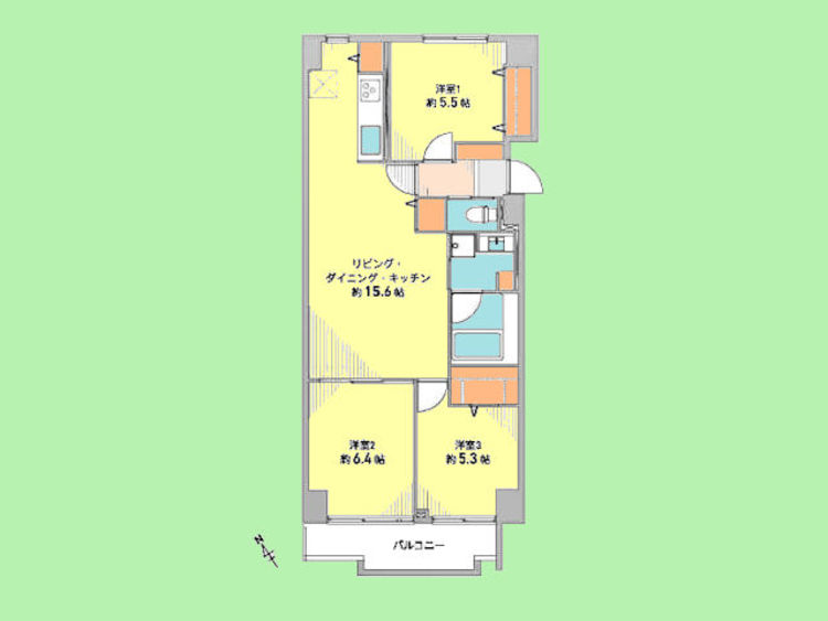 3LDK 専有面積70.39平米、バルコニー面積7.29平米