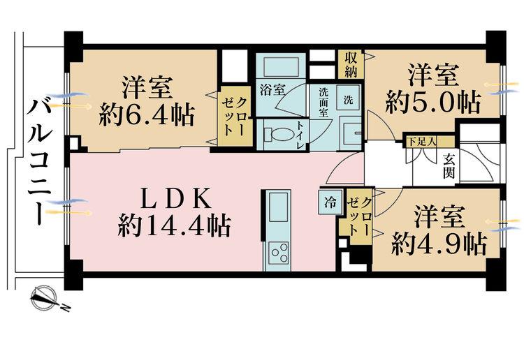 3LDK、価格4590万円、専有面積64.95m2、バルコニー面積8.46m2
