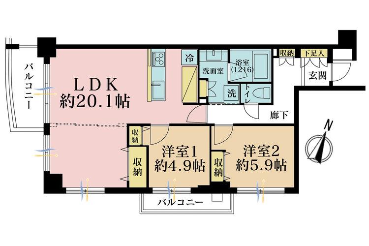 2LDK、価格5999万円、専有面積71.87m2、バルコニー面積9.08m2