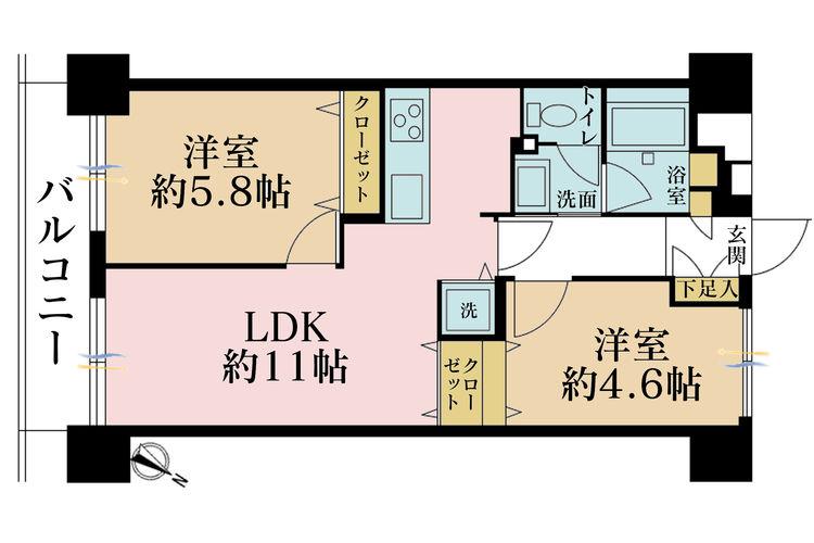 2LDK、価格4700万円、専有面積49.44m2、バルコニー面積6.42m2