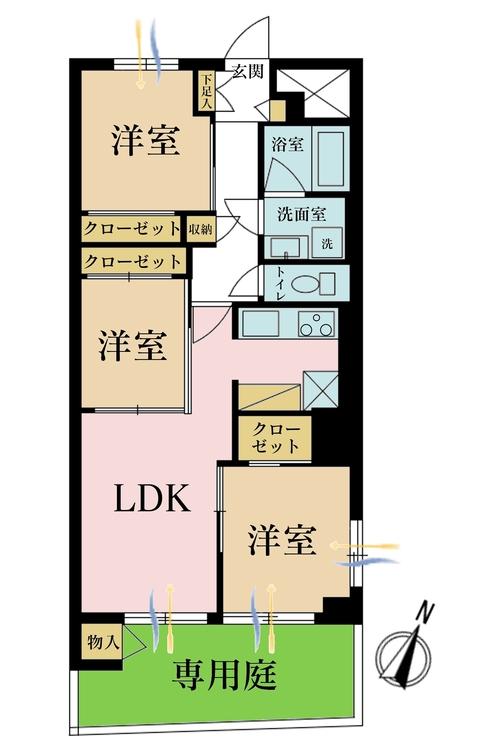 3LDK、価格3580万円、専有面積58.05m2
